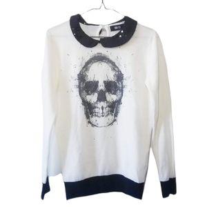 Iron Fist Skull Sequin Collared Sweater Size S